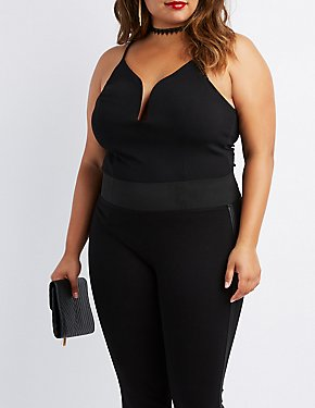 Plus Size Notched Strappy-Back Bodysuit