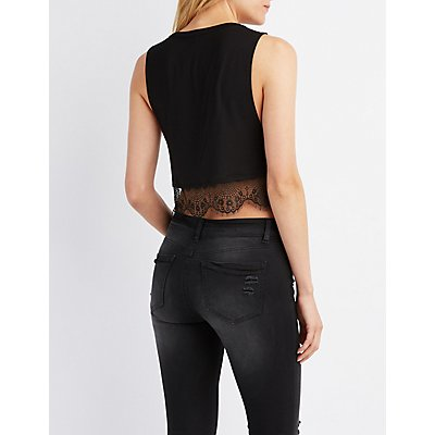 Lace-Trim Motorcycle Graphic Tank Top
