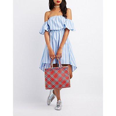 Striped Off-The-Shoulder High-Low Dress