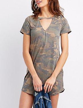 Distressed Camo Cut-Out Shirtdress