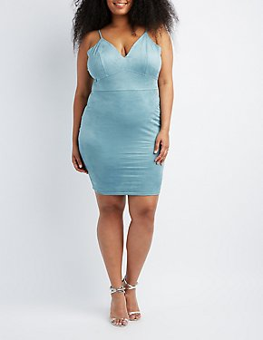 Plus Size Faux Suede Bodycon Dress