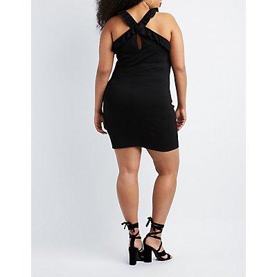 Plus Size Ruffle-Trim Bodycon Dress