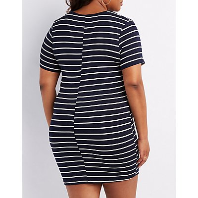 Plus Size Striped V-Neck Bodycon Dress
