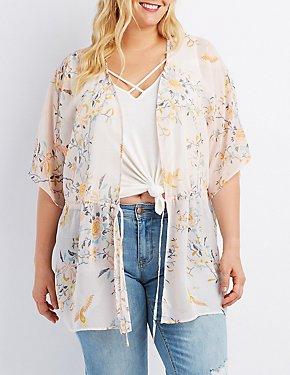 Plus Size Floral Tie-Front Kimono