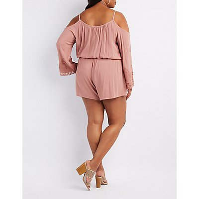 Plus Size Crochet-Trim Cold Shoulder Romper