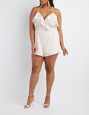 Plus Size Ruffle-Trim Surplice Romper