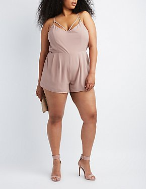 Plus Size Strappy Caged-Back Romper