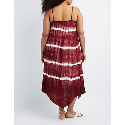 Plus Size Tie Dye Sharkbite Hem Dress