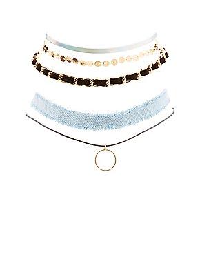 Embellished Choker Necklaces - 5 Pack