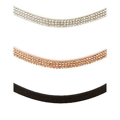 Rhinestone & Faux Suede Choker Necklaces - 3 Pack