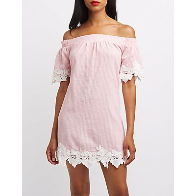 Striped Crochet-Trim Off-The-Shoulder Shift Dress