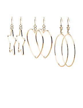 Shaped Hoop Earrings - 3 Pack