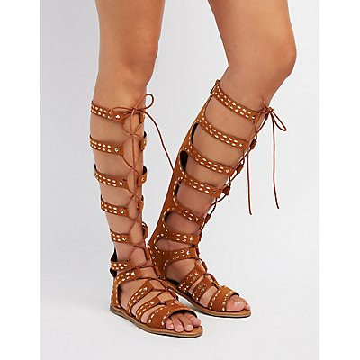 Studded Lace-Up Gladiator Sandals