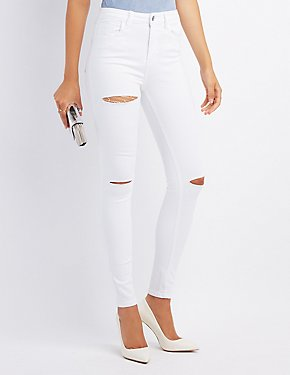 Cello Distressed High-Rise Skinny Jeans