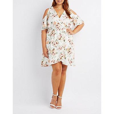 Plus Size Floral Surplice Cold Shoulder Dress