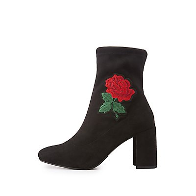 Rose Embroidered Ankle Boots