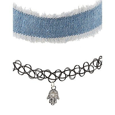 Tatto, Chainmail, & Denim Choker Necklaces - 3 Pack