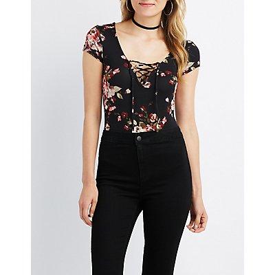 Floral Lace-Up Bodysuit