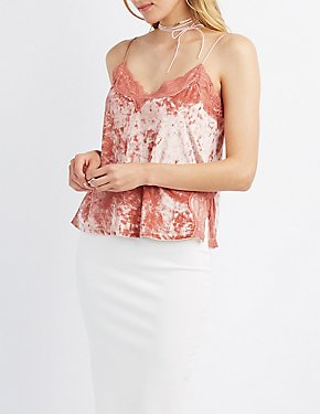Lace-Trim Crushed Velvet Tank Top