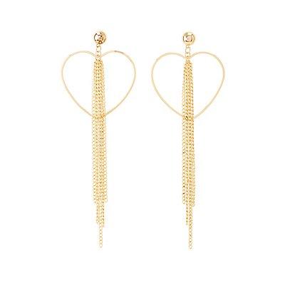 Heart Tassel Chain Earrings