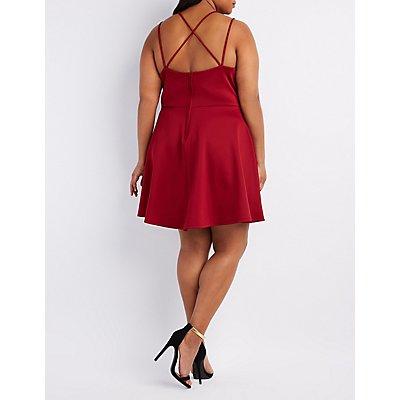 Plus Size Strappy Back Surplice Skater Dress