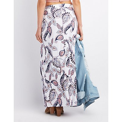 Paisley Wrap Slit Maxi Skirt