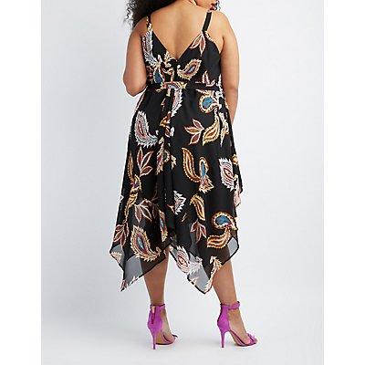 Plus Size Paisley Handkerchief Hem Maxi Dress