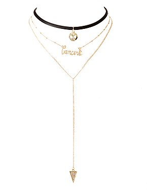 Cancer Lariat & Choker Necklace - 2 Pack