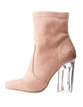 Lucite Heel Ankle Booties