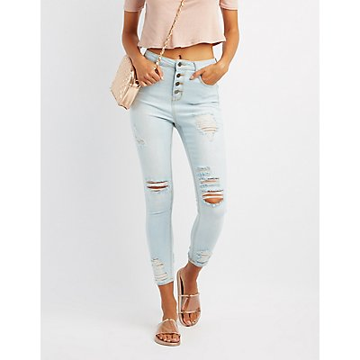 Cello Destroyed High-Rise Skinny Jeans