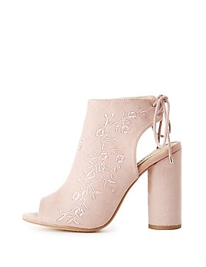 Embroidered Lace-Up Slingback Booties