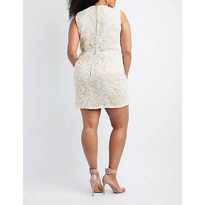 Plus Size Crochet-Trim Lace Bodycon Dress