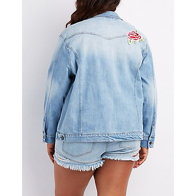 Plus Size Refuge Patch Denim Oversize Destroyed Jacket