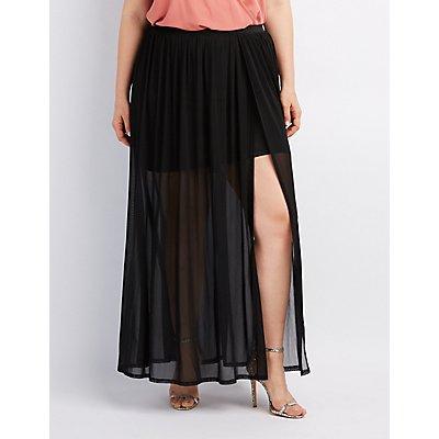 Plus Size Tulle Overlay Maxi Skirt