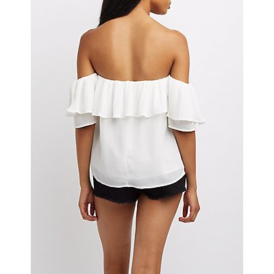 Micro Pleated Ruffle Off-The-Shoulder Top