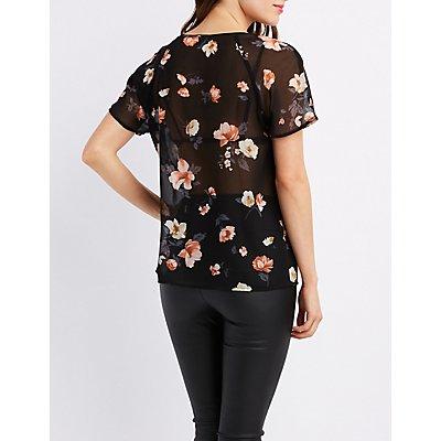 Floral Chiffon T-Shirt