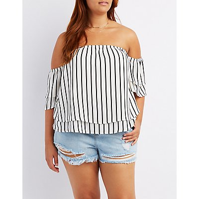 Plus Size Striped Off-The-Shoulder Tiered Top