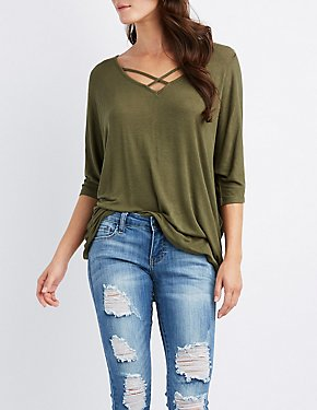 Strappy Zip-Back Dolman Tee
