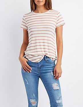 Ribbed Striped Crew Neck Tee