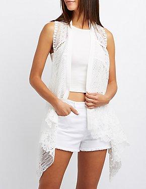 Crocheted Lace Draped Vest