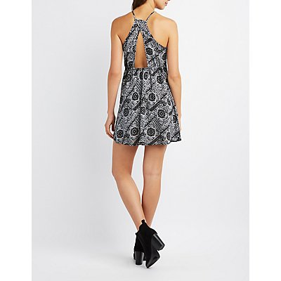 Bandana Print Open Back Shift Dress