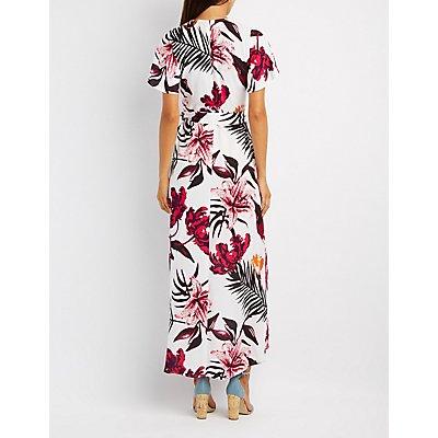 Tropical Surplice Maxi Dress