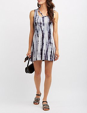 Tie Dye Cut-Out Swing Dress