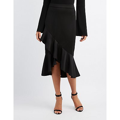Tiered Ruffle Pencil Skirt