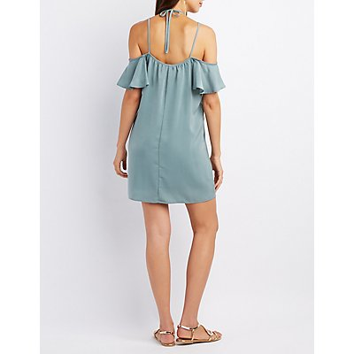 Ruffle-Trim Halter Cold Shoulder Dress