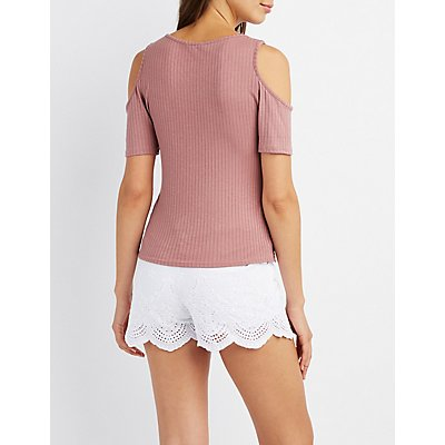 Ribbed Strappy Cold Shoulder Top