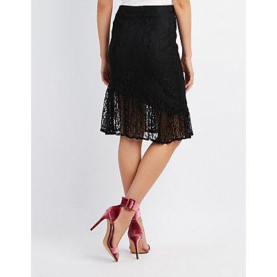 Ruffle-Trim Lace Pencil Skirt