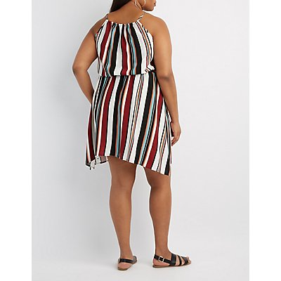 Plus Size Striped Bib Neck Dress