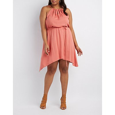 Plus Size Bib Neck Sharkbite Dress