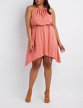 Plus Size Bib Neck Sharkbite Dress